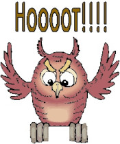 "A reddish brown owl stands on an invisible branch, flapping its wings. It is panicing, the text reading ""Hoooot!!!"" above it."